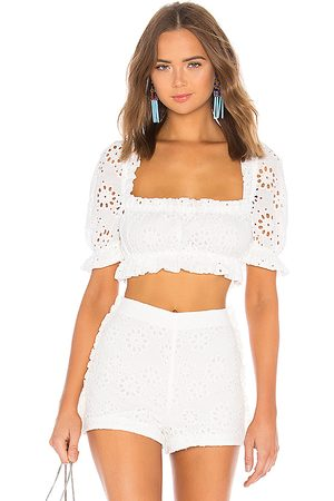 LPA Cropped Peasant Top With Puff Sleeves in .