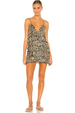 MAJORELLE Afia Mini Dress in Brown,White.