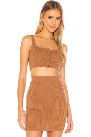 MAJORELLE Kerri Knit Top in Brown.