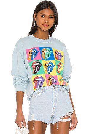 Madeworn Rolling Stones 89 Multi Tongue Sweatshirt in Blue.