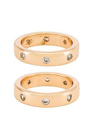 Ettika Thick Stacking Ring Set in Metallic .