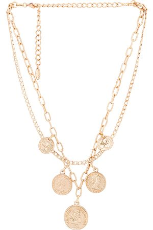 Ettika Layered Coin Necklace in Metallic .