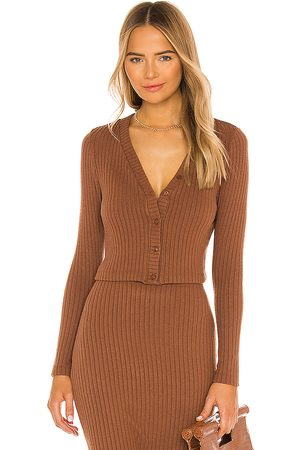 ENZA COSTA Sweater Rib Cropped Cardigan in Brown.