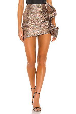 Lovers + Friends Dixon Mini Skirt in Metallic Gold.