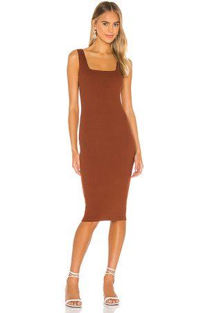 Lovers + Friends Fleur Midi Dress in Brown.