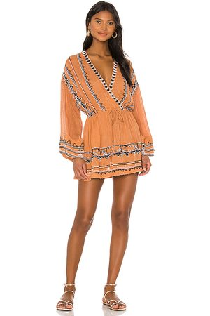 Free People Saffron Embroidered Tunic in Burnt Orange.
