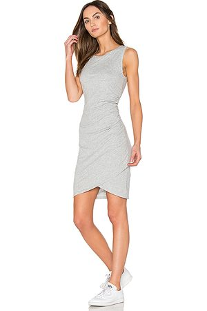 Bobi Supreme Jersey Ruched Bodycon Dress in Gray.