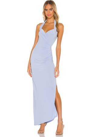 Norma Kamali X REVOLVE Halter Sweetheart Side Drape Gown in Baby Blue.