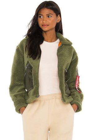 Alpha Industries Cropped Sherpa Utility Jacket in Green.