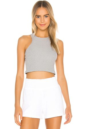 Beyond Yoga Spacedye Studio Cropped Tank in Grey.