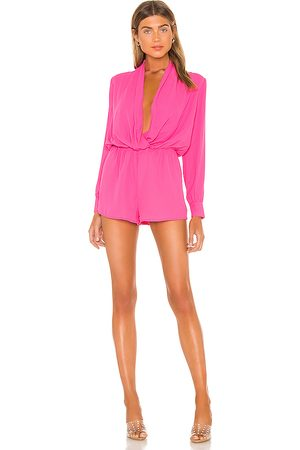 superdown Kaycie Drape Neck Romper in Fuchsia.