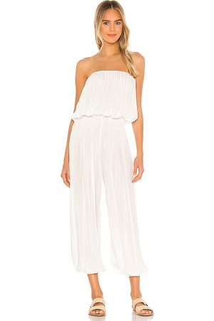 Indah Seychelle Strapless Pleated Jumpsuit in White.