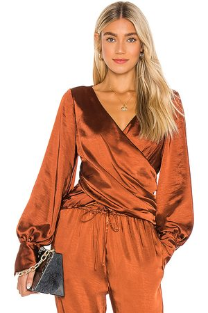 LPA Criss Cross Blouse in Brown.
