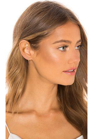 EF Collection Women Studs - Diamond Bar Stud Earring & Mini Huggie Earring in Metallic .