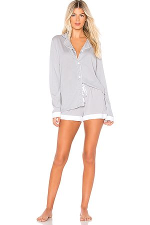 Cosabella Bella Long Sleeve Top Boxer Set PJ in Gray.