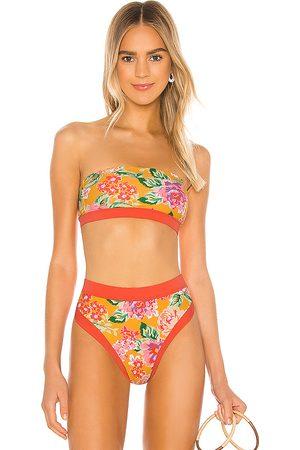 Lovers + Friends Little Me Bikini Top in Orange.