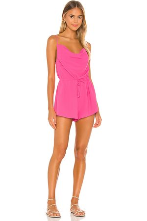 superdown Camari Cowl Neck Romper in Fuchsia.