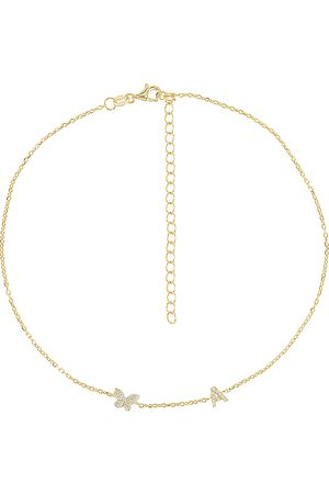 Adina's Jewels Pave Butterfly Initial Choker in Metallic .