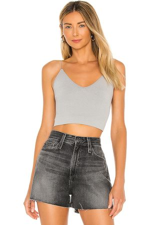 Free People Ribbed V Neck Brami Tank in Grey.