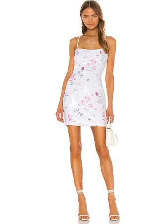 LIKELY Women Printed Dresses - Floral Sequin Reese Dress in White.