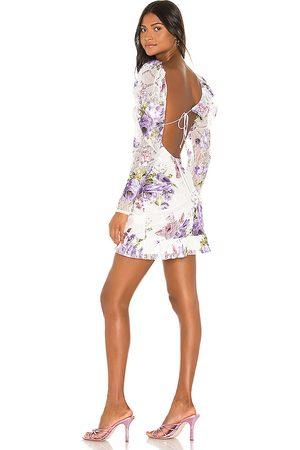 For Love & Lemons Wildflower Foil Lace Mini Dress in White.
