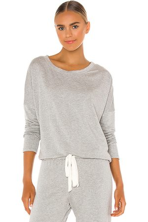 Eberjey Softest Sweats Slouchy Sweatshirt in Grey.