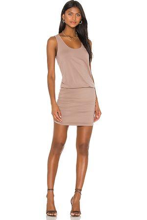 Bobi Draped Modal Jersey Mini Dress in Tan.