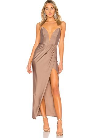 Michael Costello Jake Gown in Taupe.