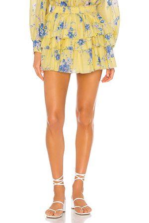 LOVESHACKFANCY Brynlee Skirt in Yellow.