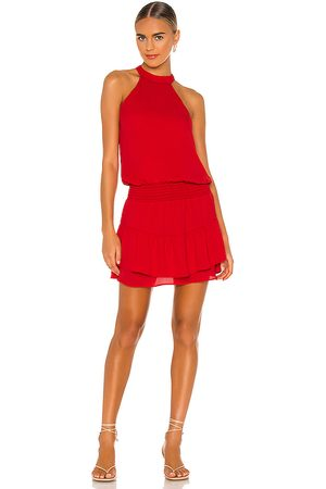 krisa Smocked Waist Halter Mini Dress in Red.