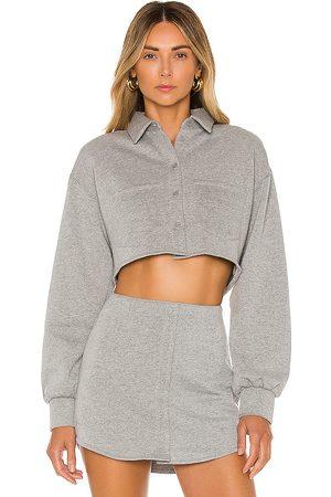 DANIELLE GUIZIO Fleece Button up Top in Gray.