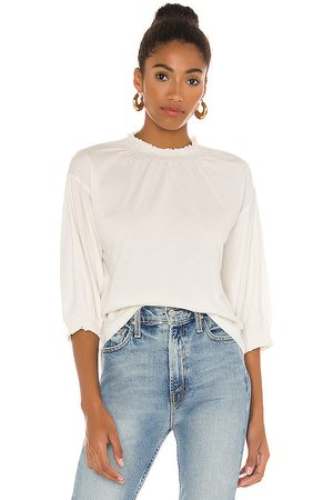 Bobi Light Weight Jersey Mock Neck 3/4 Sleeve Top in White.
