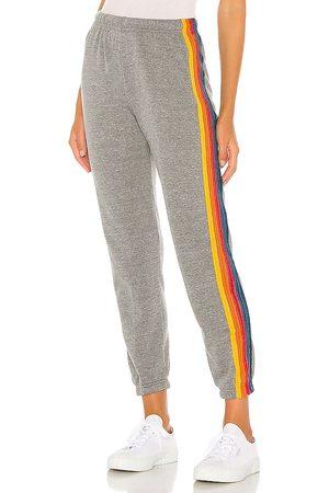 AVIATOR NATION 5 Stripe Sweatpants in Grey.