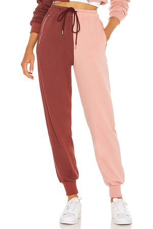 superdown Renna Two Tone Sweatpants in Pink, Burgendy.