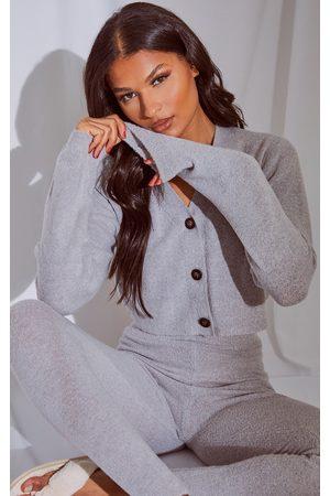 PRETTYLITTLETHING Grey Marl Soft Knit Slouchy Button Cardigan