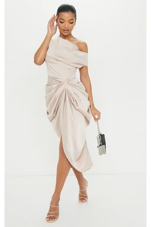 PRETTYLITTLETHING Champagne Satin Off The Shoulder Draped Skirt Midi Dress