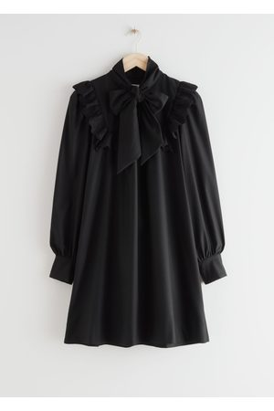 & OTHER STORIES Neck Bow Ruffle Mini Dress