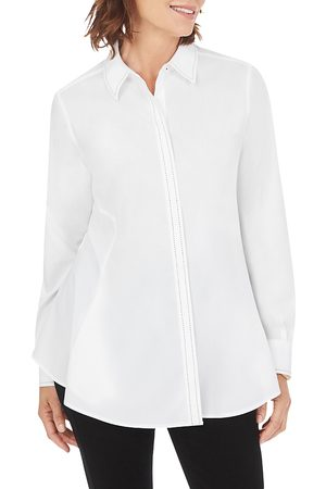 Foxcroft Cici Non-Iron Pick-Stitch Trim Tunic