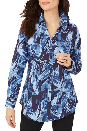 Foxcroft Faith Non-Iron Brushstroke Leaves Tunic