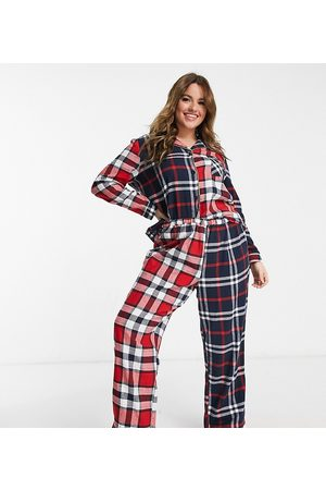 Chelsea Peers Curve organic cotton mixed plaid long camp collar pajama set in and navy