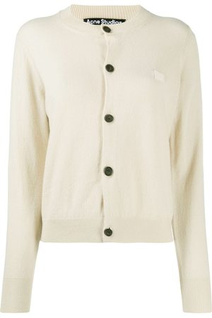 Acne Studios Round neck knitted cardigan - Neutrals