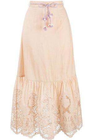 ZIMMERMANN Women Midi Skirts - Floral-lace a-line midi skirt - Neutrals