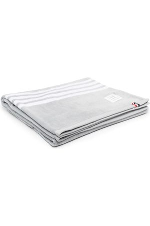 Thom Browne 4-Bar large gym towel - 035 MED GREY