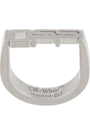 OFF-WHITE Sculpted-logo bronze ring