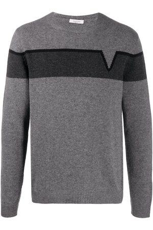 VALENTINO V- intarsia jumper - Grey