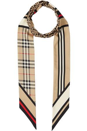 Burberry Montage-print silk skinny scarf - Neutrals
