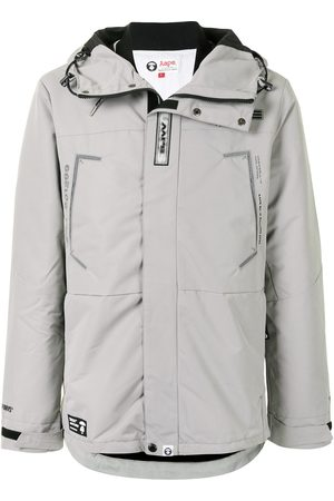 AAPE BY *A BATHING APE® Logo print embellished parka coat - Grey