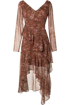 Marchesa Notte Floral-print sheer midi dress