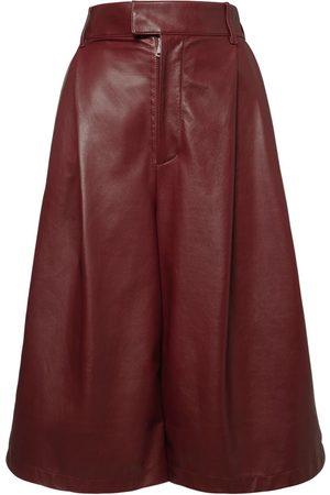 Bottega Veneta Women Bermudas - High Waist Leather Bermuda Shorts