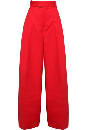 Bottega Veneta High Waist Double Cotton Wide Leg Pants